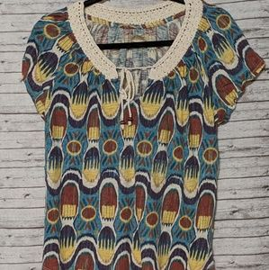Lucky Brand womens Blouse SZ:L multicolor print